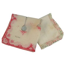 Two Vintage Cotton Hankies Phila Webb Hankerchief