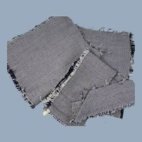 Vintage Fabric Remnants Tiny Checks in Wool Silk for Doll Sewing