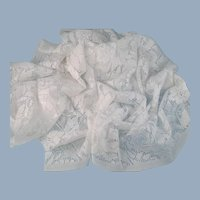 Vintage White Lace Fabric Remnant Lightweight