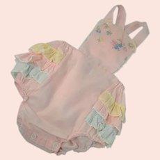 Toddler Baby Playsuit Sunsuit Ruffles Pink Cotton Vintage