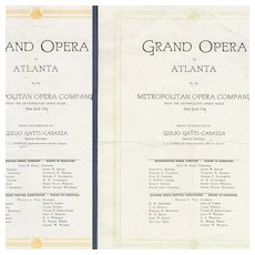 1919 Programs Grand Opera Atlanta Caruso Ponselle Easton