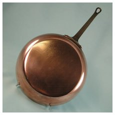 Vintage Copper Saute Fry Pan Brass Handle
