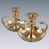Two Brass Candleholders Candle Holders Vintage Heart Cut-Outs