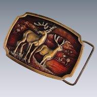 Koleaco Deer Brass Enamel Buckle Vintage Early Production Texas A-16