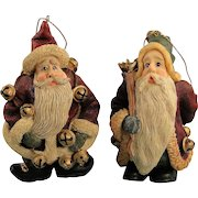 Boyds Folkstone Santa Ornaments Jingle Nick and Starry Starry Nick Christmas