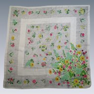 Vintage Silk Flowered Scarf Large Square