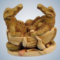 Harmony Kingdom Croc Pot Crocodiles Version One Treasure Jest