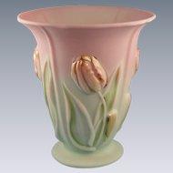 Fenton Lotus Mist Burmese Vase Blushing Tulip Design