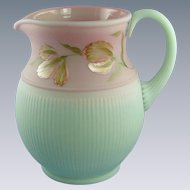 Fenton Lotus Mist Burmese Pitcher Blushing Tulip Design