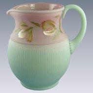 Fenton Lotus Mist Burmese Pitcher Blushing Tulip Design