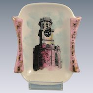Ceramic Hand Painted Rome Clock Tower Miniature Tray with Stand