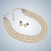 Vintage Faux Pearl Necklace 3-Strand with Clip Earrings