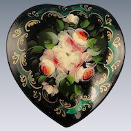 Russian Folk Art Lacquer Pin Brooch Floral Design Hand Painted Heart