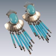 Vintage Southwestern Style Turquoise Earrings Sterling Silver Native American
