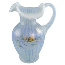 Fenton Glass Pitcher Winter Aura on French Opalescent