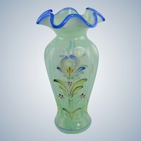 Fenton Glass Willow Green Vase Cobalt Blue Trim