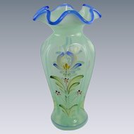 Fenton Glass Willow Green Vase Cobalt Blue Trim