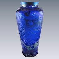 Fenton Peacock Feathers Favrene Vase Kelsey Murphy Glass