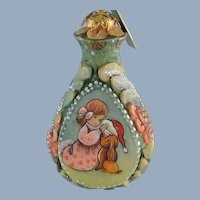 DeBrekht Christmas Santa Ornament Russian Hand Painted Girl and Puppy