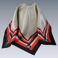 Vintage Je Suis Square Scarf Gray Black Red