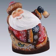 DeBrekht Masterpiece Rocking Santa Carved Wood Russian Christmas