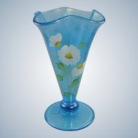 Fenton Celeste Blue Cloverleaf Vase Stretch Glass