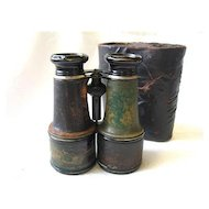 Vintage French Verdi Fabt Brass Binoculars Paris Military With Partial Case