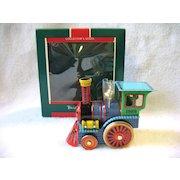 1989 Hallmark Tin Locomotive Train Toy Christmas Ornament In Box # 8 Final  In Series
