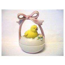 Vintage Lefton Easter Egg Chick Trinket Box  Japan Just Hatched Pink Ribbon