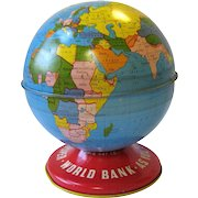 Vintage Ohio Art World Globe Litho Still Bank 1940's
