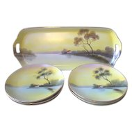 Noritake Tree In The Meadow Set Ice Cream or Cake Tray Platter + 6 Plates