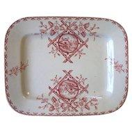 Antique Red Transferware Platter ALASKA Emberton Staffordshire