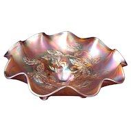 "Circa 1911 Carnival Glass Footed Bowl Dugan Cherries 9"""