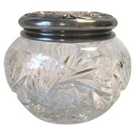Antique EAPG Heisey Glass Powder Dresser Jar Silver Repousse Lid