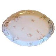 """Large 18"""" Platter Haviland Limoges Pink Roses & Gold Louis XV"""