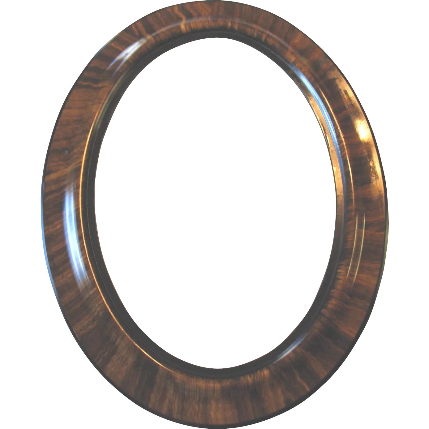 Large Antique Oval Wood Frame Tiger Stripe Convex Bubble Glass 25\