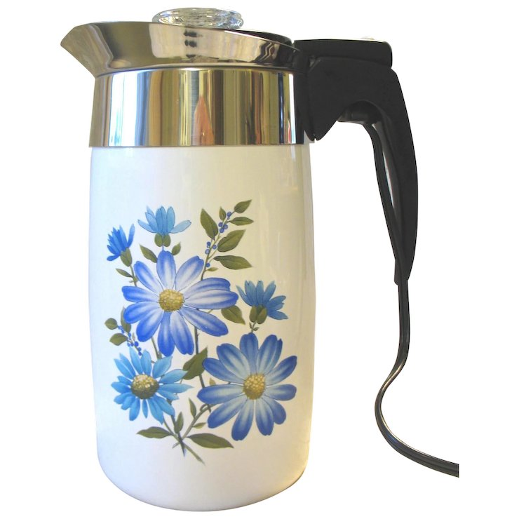 Vintage Corning Ware Electric Coffee Percolator Pot Large 10 Cup Complete Blue Purple Flowers