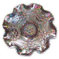 "Signed Fenton Carnival Glass Cherry Chain & Orange Tree Ruffled Bowl 9 3/4"" Amethyst Outstanding"