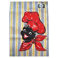 Vintage Black Americana Kitchen Tea Towel Linen Happy Chef Never Used With Label
