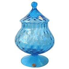 Vintage Empoli Italy Art Glass Blue Candy Jar Diamond Optic