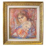 Edna Hibel Woman & Child Print  42/1000 Ltd ED Framed Marianne & Danielle 1978