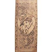 Vintage Wood Glove Handkerchief Box Pretty Lady Flemish Art Wood Burning