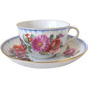 Carl Thieme Dresden Porcelain Cup & Saucer Set Floral Potschappel