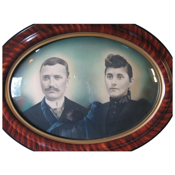 Large Antique Oval Wood Frame Tiger Stripe Convex Bubble Glass 25 X