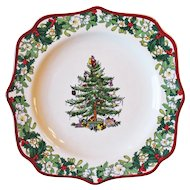 "Spode Christmas Tree Plate Square Fancy 9"" New In Box"