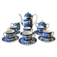 Vintage Geisha Girl Lithopane Blue Willow Japan Tea Set Small  Svc For 6