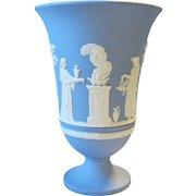 "Wedgwood Jasperware Sacrifice Vase 7 1/2"" Cream on Lavender Blue Arcadian Bas-Relief"