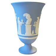 "Wedgwood Jasperware Sacrifice Vase 7 1/2"" Cream on Lavender Blue Arcadian Bas-Relief"