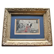 c. 1890 Colorful Jacquard Woven Silk Image - Betsy Ross Making the First US Flag  - Anderson Bros