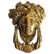 Solid Brass Figural Door Knocker Bacchus Head Man Face Victorian Look
